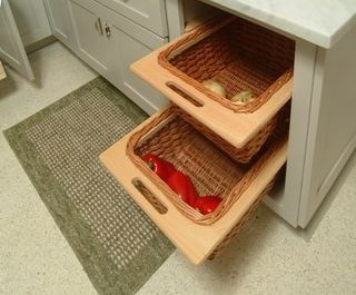 contemporary green shaker kitchen cabinets with custom pull out basket shelf drawers