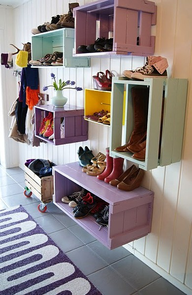 These Cute Boxes Painted A Variety Of Colors Are An Adorable Way To  Incorporate Both Function And Design Into Your Shoe Storage Spaces.