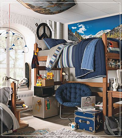 Dorm room design for the dude in your life dig this design - Cool wall decorations for guys ...