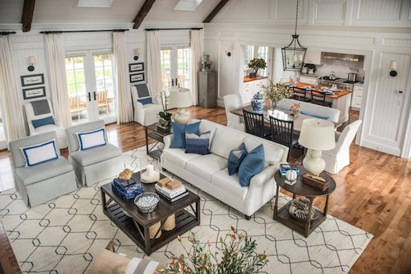 light airy high cathedral ceiling transitional contemporary home living room design