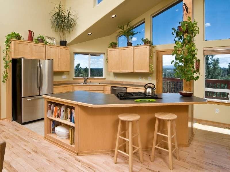 Modern Kitchen with Light Tone Discount Hardwood Floors