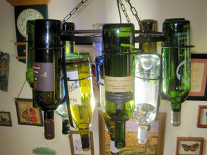 How to make a wine bottle chandelier makes 187 make your for How to make your own wine bottle chandelier