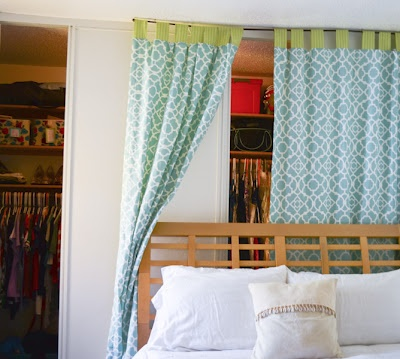 Dorm Room Closet Curtain Idea