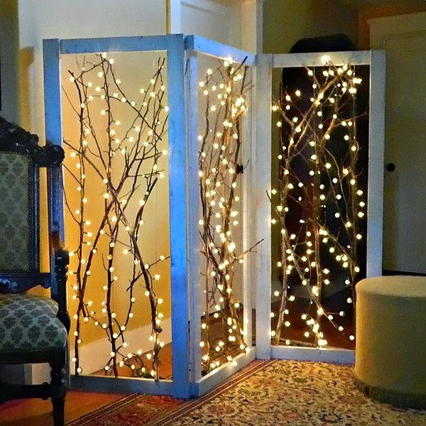 DIY decor for inside and out with Christmas lights