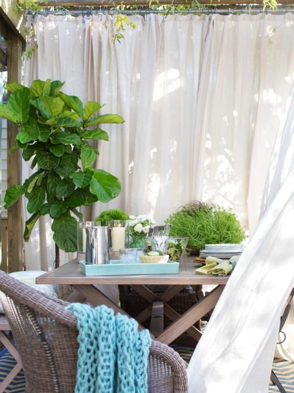 Shade with panels, canvas, sheets or curtains for patio decor inspiration