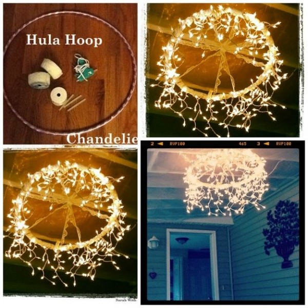DIY hula hoop Christmas light chandelier for patio, porch or backyard