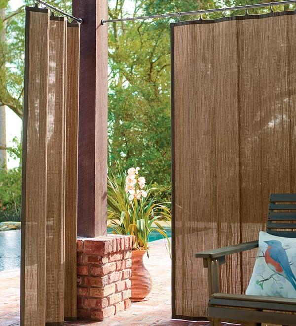 Providing porch shade with Bamboo screen
