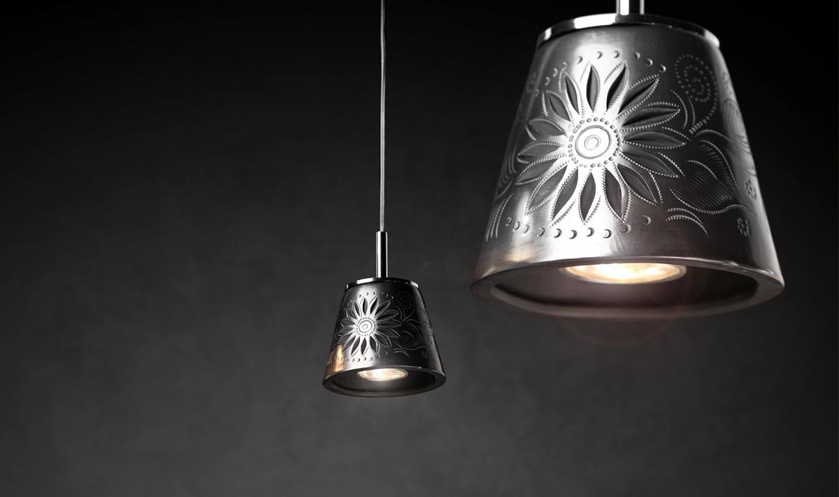 David Pompa light pendants made from eco friendly barro negro originating in Mexico.