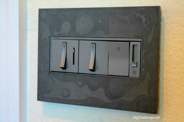 Decorative switch plate from Legrand & Hubbardton Forge in Burnished Steel design, interior design, decor, decorative outlet plate