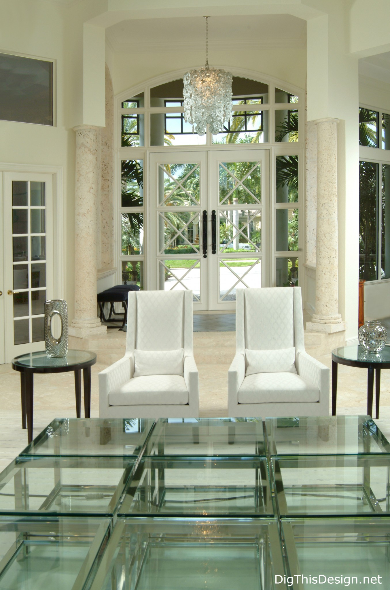 Entry contemporary French doors