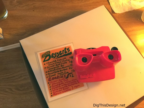 Satchel's menu of homemade deserts is in a vintage viewfinder toy