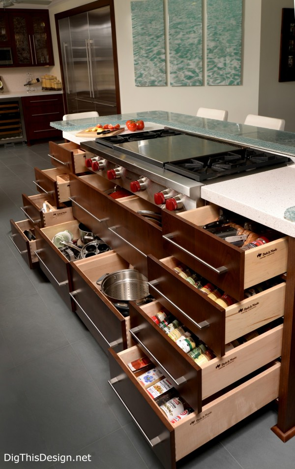 kitchen island drawer storage in a soft contemporary kitchen interior design