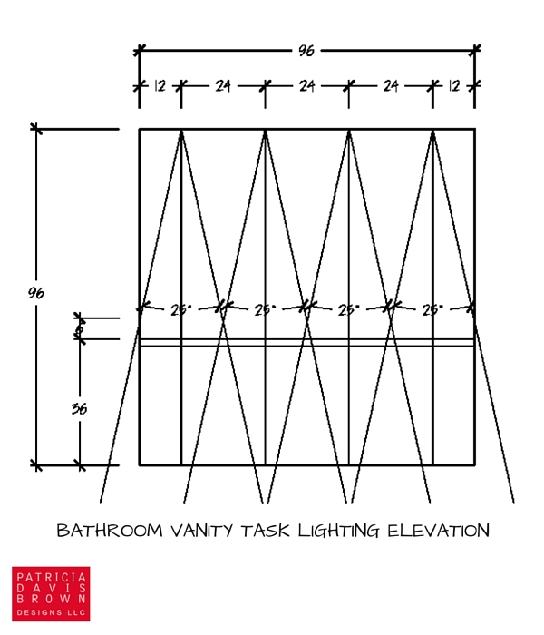 calculated lighting design plan elevation with symbols for task can light placement on ceiling with light angle beam spreads for LED recessed lamps