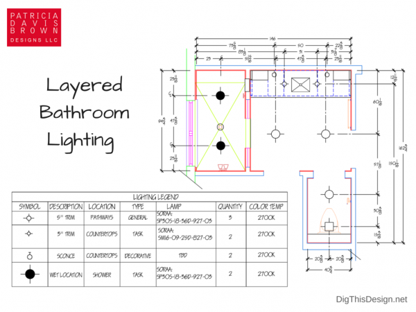graphic of master bathroom lighting floor plan with legend showing layered general, task, decorative and shower lights