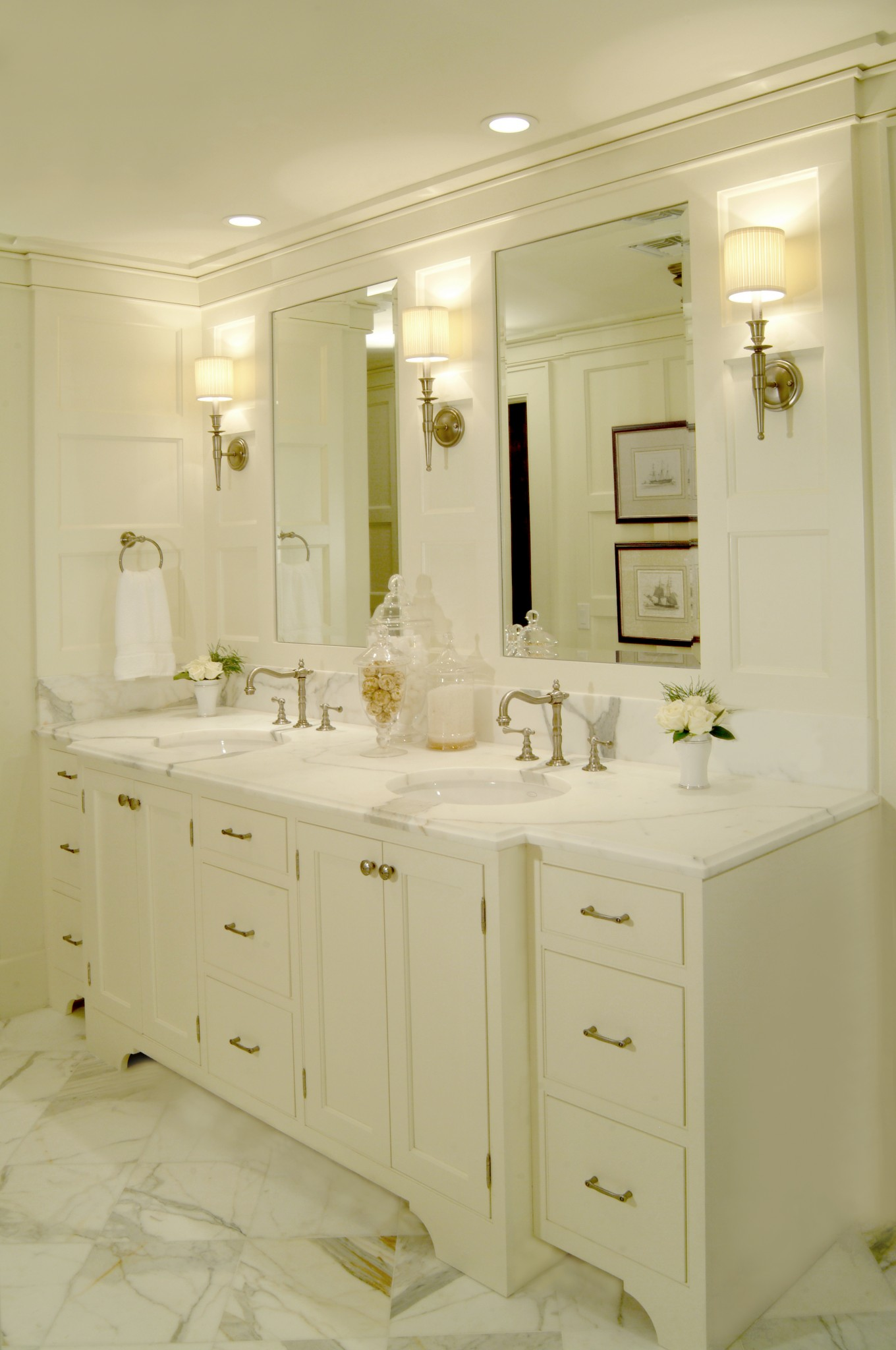 Master Bathroom Double Sink Vanity With Marble Floor Tile And Counter Top.  White Painted Wood