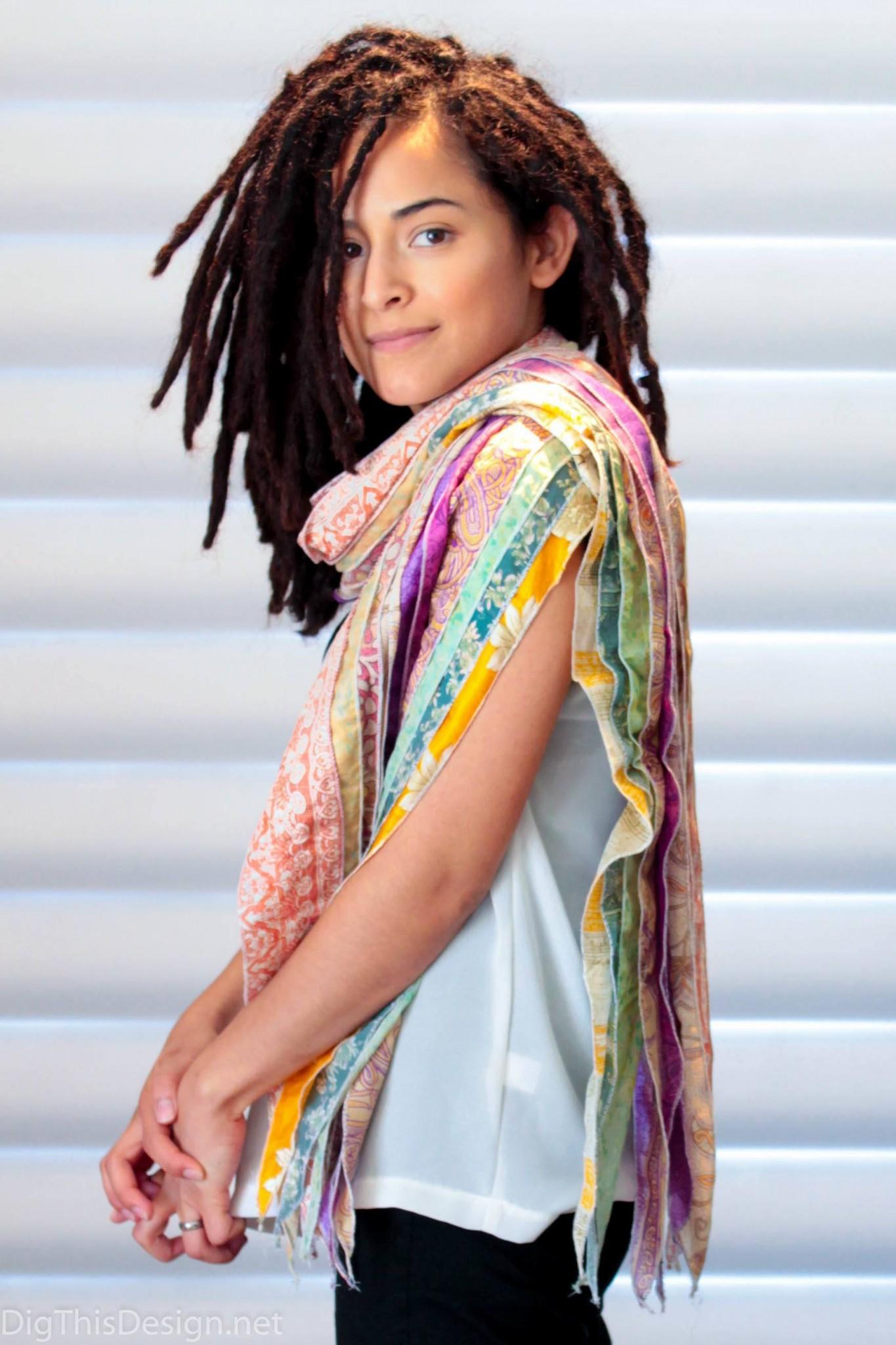Woman wearing a colorful boho chic wrap.