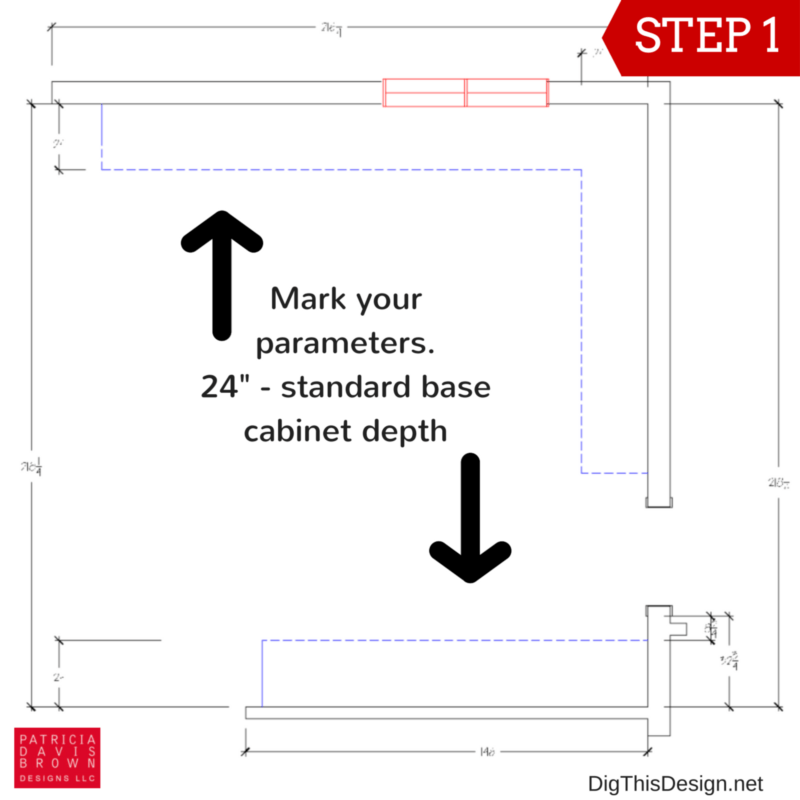 How to layout your kitchen space planning guide. Floor plan for base cabinets.