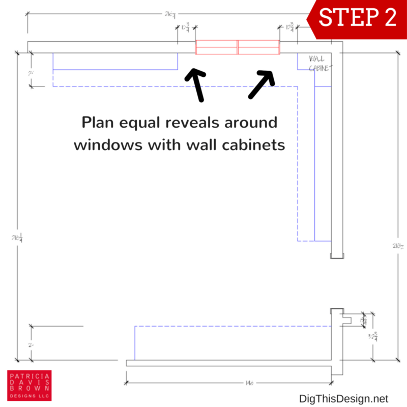 How to layout your kitchen space planning guide. Planning wall cabinets next to door and window openings.