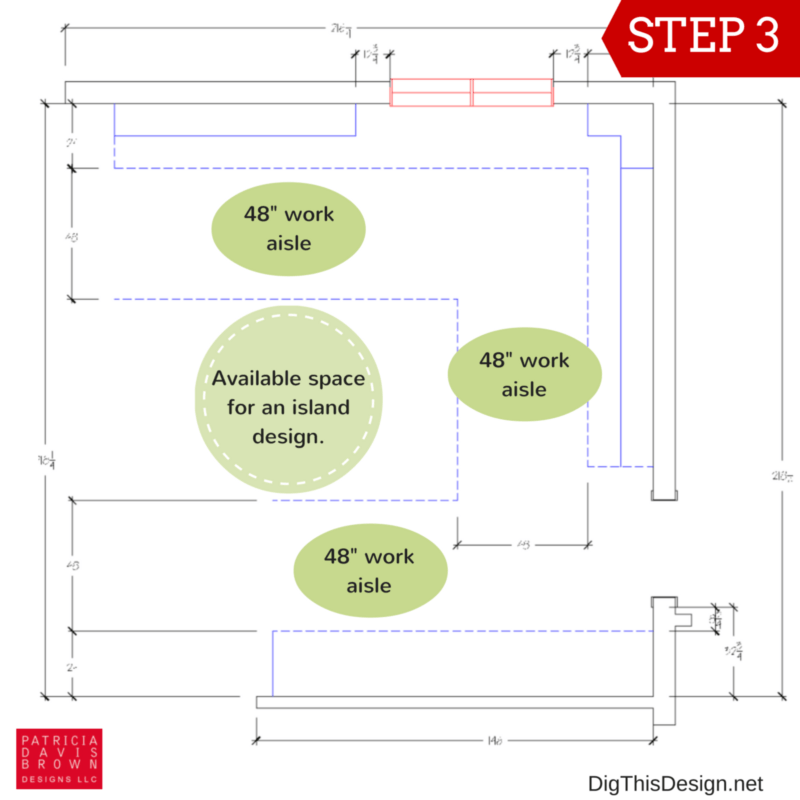 How to layout your kitchen space planning guide. Island work around aisle ADA space clearance.