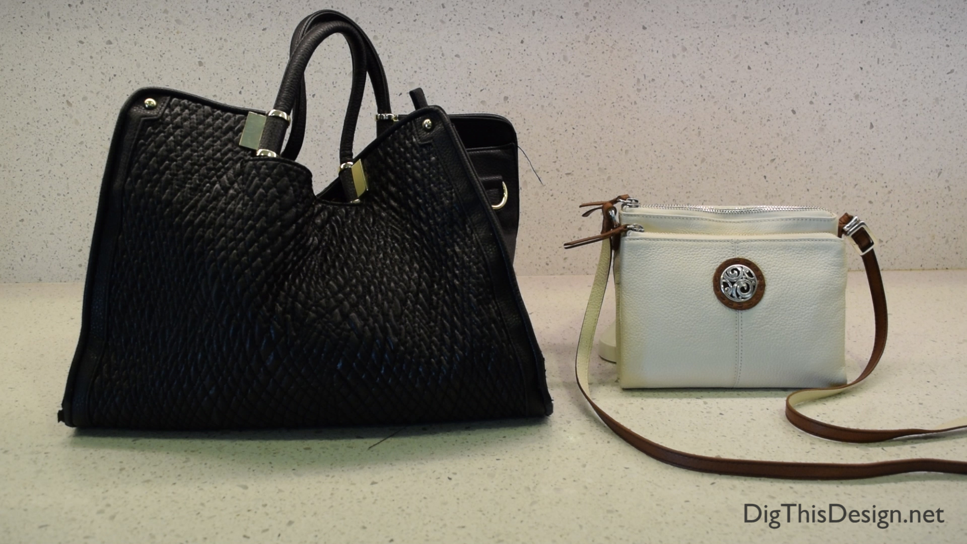 two handbags side by side comparing size after using the wocket smart wallet