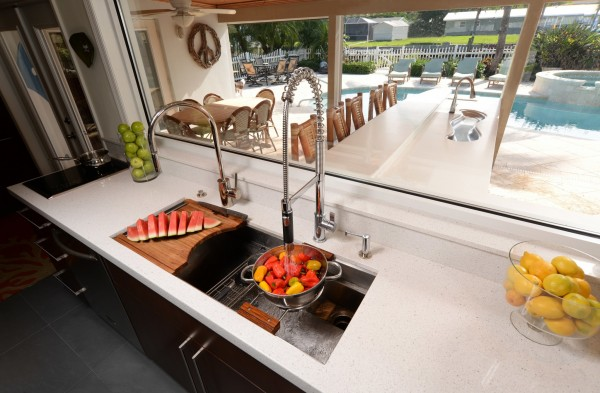 A chef sink with a two burner induction cooktop makes the perfect cleanup prep area.