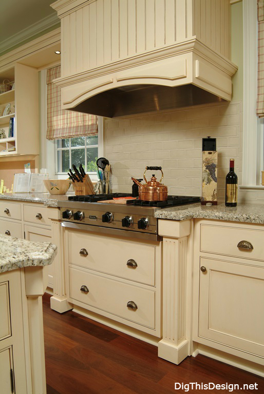 Traditional White Cabinet Interior Design Range And Hood
