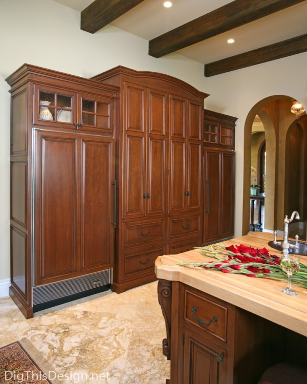 traditional kitchen build in refrigerator panel