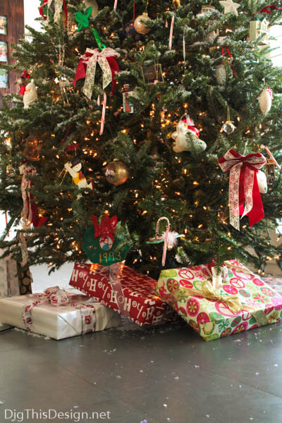 Christmas tree with ornaments and wrapped gifts