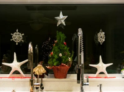 Christmas window sill decor with starfish rosemary christmas tree and ornaments