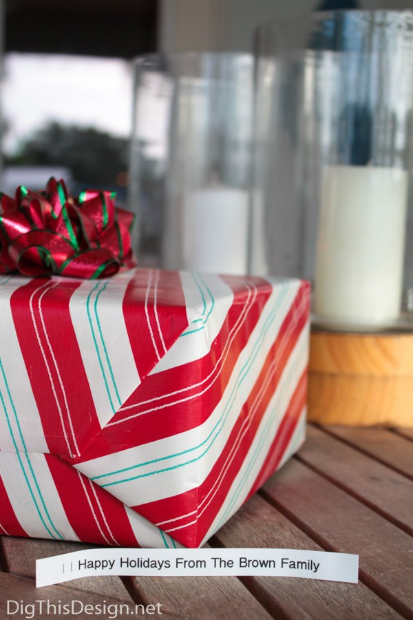 red white green christmas gift wrap with custom label