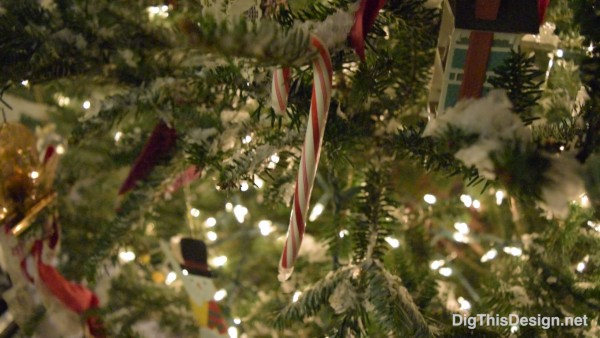 close up of candy cane and holiday decor on christmas tree