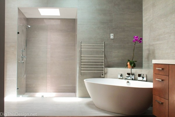 modern open master bathroom with walk in shower and stand alone soaking tub
