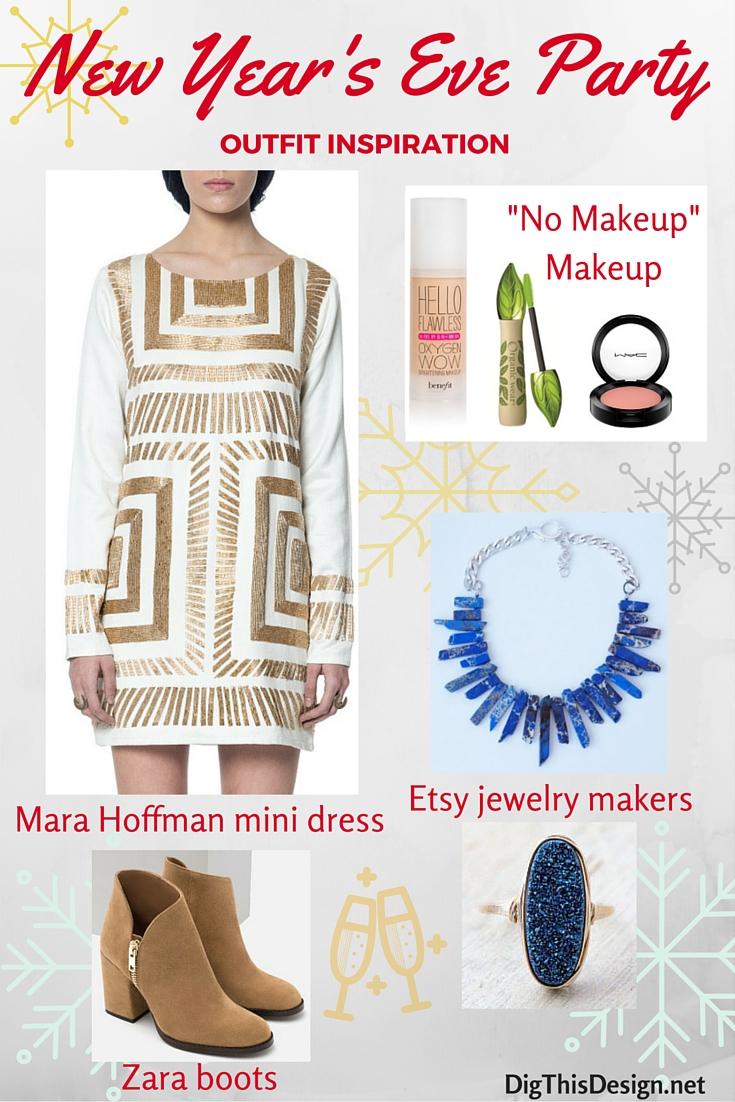 new year's eve party outfit style inspiration, mara hoffman zara etsy jewelry bare minimum makeup mac blush ulta foundation organic mascara