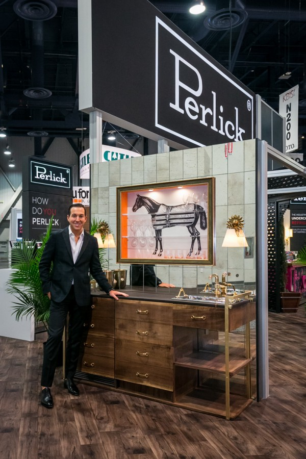 Designer Richard Anuszkiewicz previewing his cart before the horse Perlick vignette, for the #howdoyouperlick, design competition, kbis 2016