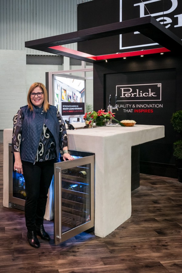 Perlick booth designed by Michele Alfano with Perlick wine and undercounter appliances.
