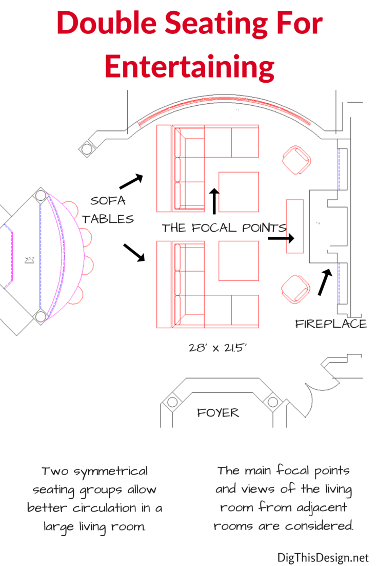 Furniture layouts for a large living room for Room design layout