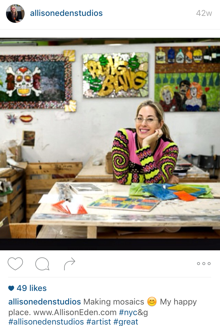 Tile art designer Allison Eden in her Brooklyn studio