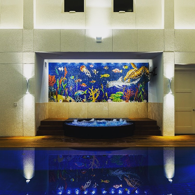 Indoor pool aquatic mosaic by tile art designer Allison Eden Studion