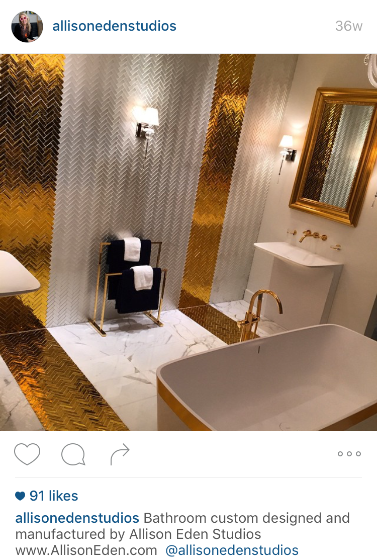Gold and silver glam wall and floor tile backsplash by Tile art designer Allison Eden