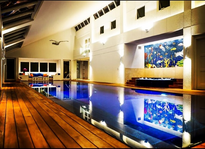 Indoor pool and aquatic mosaic by tile backsplash by Tile art designer Allison Eden