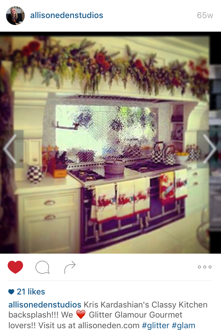 Kris Kardashian custom kitchen backsplash by tile backsplash by Tile art designer Allison Eden