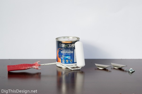Pomegranate Seeds paint from Ace Hardware for tutorial on how to paint laminate furniture.