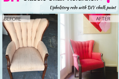 Before and after classic chair DIY chalk paint and glaze refurbish project with Julia Riley.