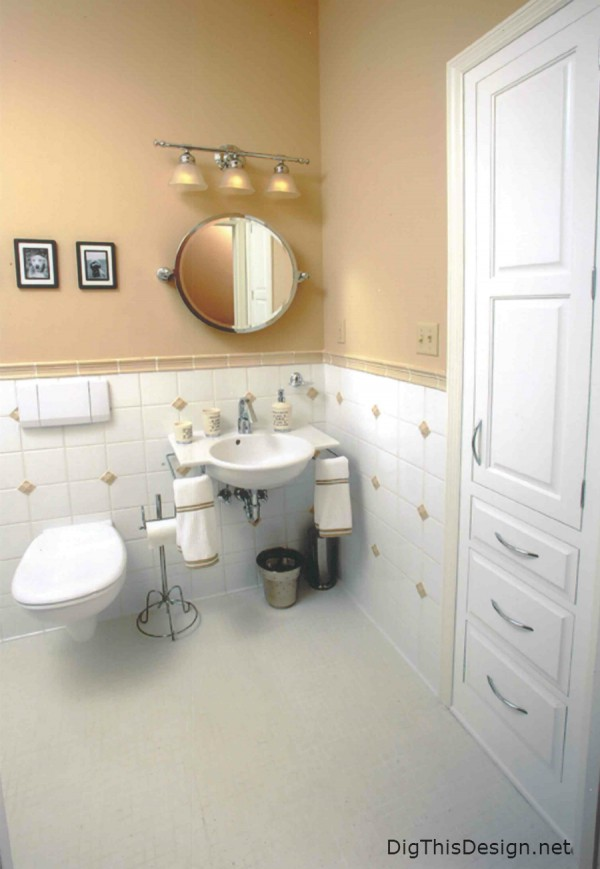 Universal bathroom design showing recessed storage and wall hung fixtures for complete accessibility.
