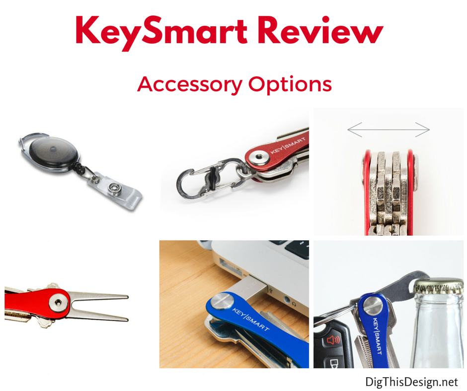 Reviewing the KeySmart key storage organizer tool and a view of the accessories.