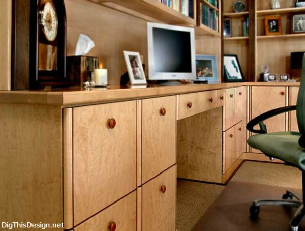 Clutter free, organized home office.