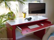 Painted laminate desk furniture DIY tutorial with Ace Hardware paint color Pomegranate Seeds.