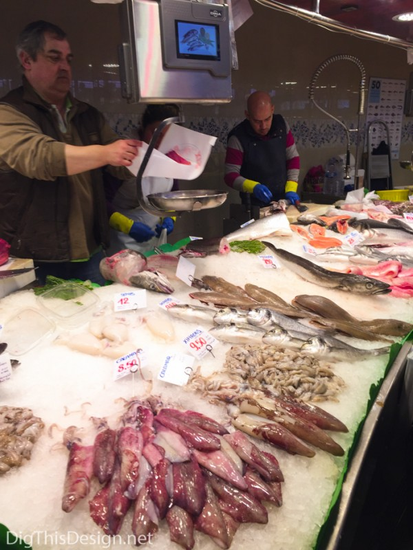 Seafood on display at the La Boqueria food market in Barcelona.