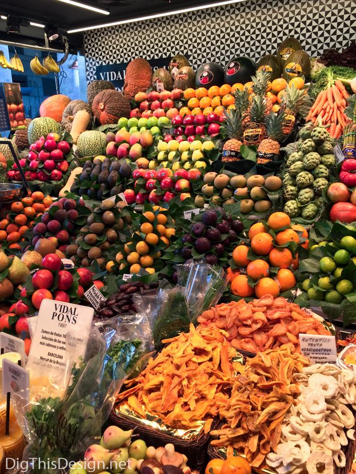 Colorful fruit at La Boqueria food market in Barcelona