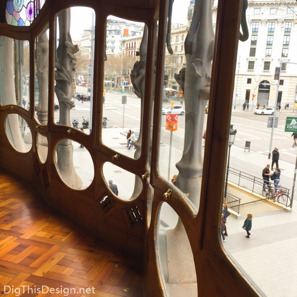 The view from the noble floor of the Casa Batilló, designed by Antoni Gaudi, located in Barcelona, Spain.